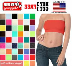 Basic Colors Stretch Strapless Layering TUBE TOP BRA Plain B
