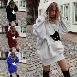 Fashion Women's Ladies Cat Print Clothes Hoodies Pullover Co