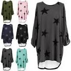 Plus Size Womens Star Print Batwing Lagenlook Tunic Dress To