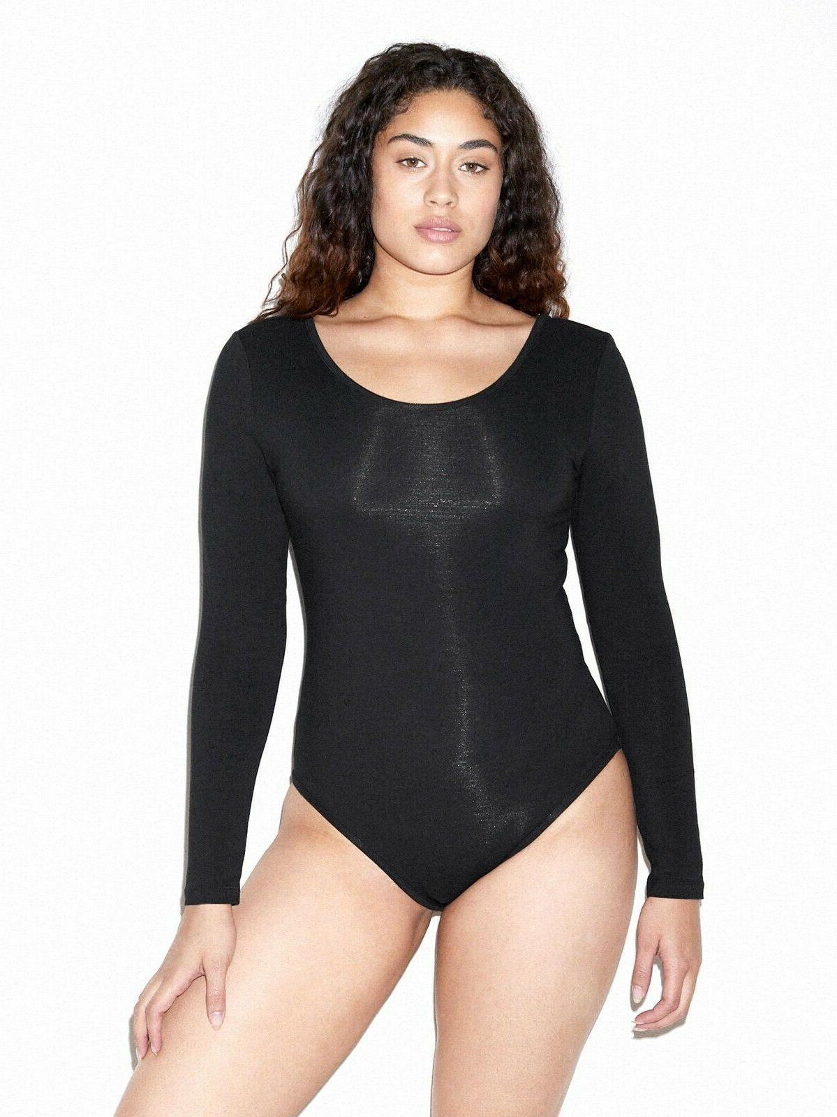 women s black long sleeve bodysuit size
