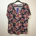 Allegrace Womens Blue and Pink Size 2X Floral V-Neck Knit To