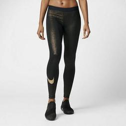 New Woman's Nike Pro Cool Training Tights Sparkle GOLD Metal