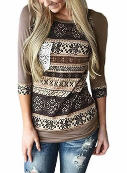 Sleeve Striped Pattern With Front Crochet Pocket Tops Blouse