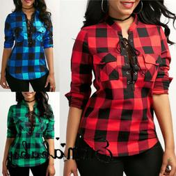 US Womens Plaid Casual Tops Shirt Loose Fashion Blouse Cloth