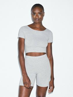 American Apparel Women Cotton Spandex Jersey Crop Top Tee- H