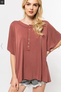 Women's Soft Touch Tee in Brick - POL Clothing