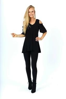 Women's Top Tunics, Cold Shoulder 3/4 Sleeves V-Neck Solid T