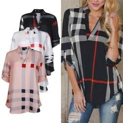 ISASSY Womens Plaid Plus V neck Shirt Autumn Top Blouse Long