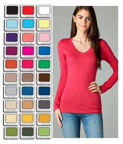 Womens T Shirt V Neck Long Sleeve Cotton Active Basic Light