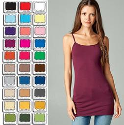 Womens Tank Top Cami Long Layering Active Basic Spaghetti St