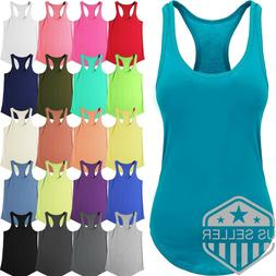 Womens Tank Top Cotton Sleeveless Tee Casual Basic Workout R