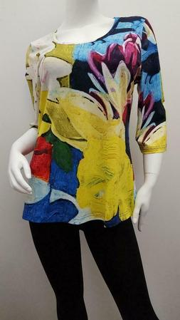 Women's Tops 3/4 Sleeve Round Neck Colorful Print Top - Fa